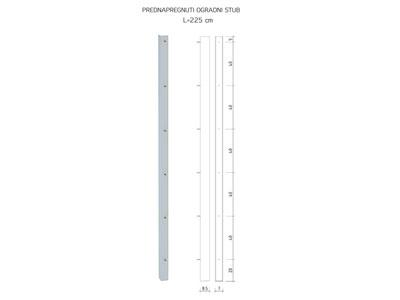 Prednapregnuti ogradni stub L=225